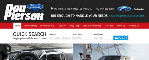 Don Pierson Ford homepage screenshot