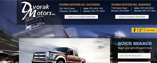 Dvorak Motors homepage screenshot