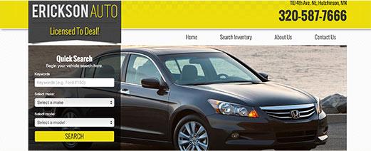 Erickson Auto homepage screenshot