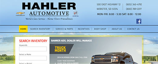Hahler Auto homepage screenshot