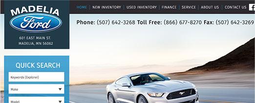 Madelia Ford homepage screenshot