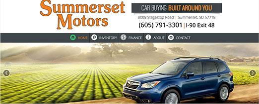 Summerset Motors homepage screenshot