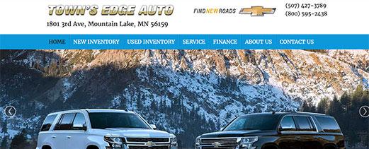 Town's Edge Auto homepage screenshot